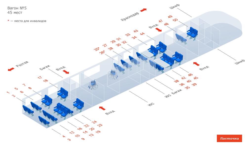 Схема вагона 4 ласточка